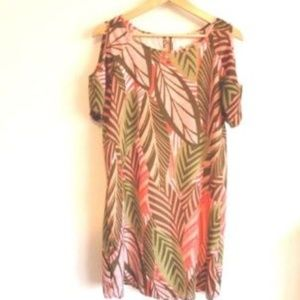 Charming Charlie Tropical Shoulder Cut Out Dress